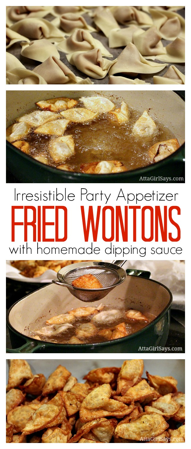 This is the absolute best party appetizer ever! I've been using this same fried wonton recipe for 30 years. I usually make a double batch for parties, and there are never any leftovers! You just need a few ingredients to make these, and it's easier than you think to fold the wontons.
