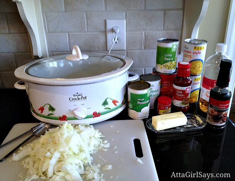 easy slow cooker brunswick stew ingredients and recipe by AttaGirlSays.com