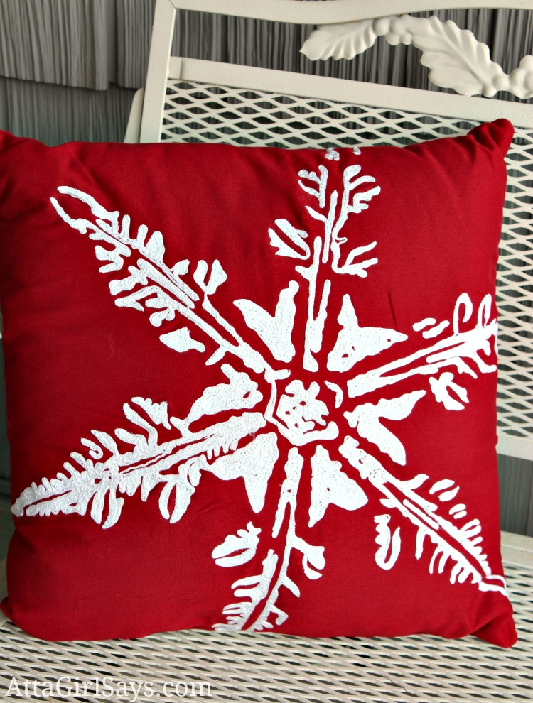 red snowflake pillow from Target Threshold for Christmas