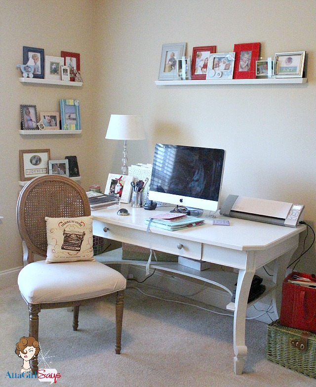 Blogger office with French Desk and Chair in neutral color scheme