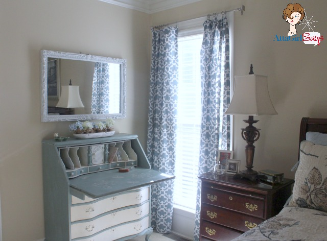 Handpainted secretary in master bedroom