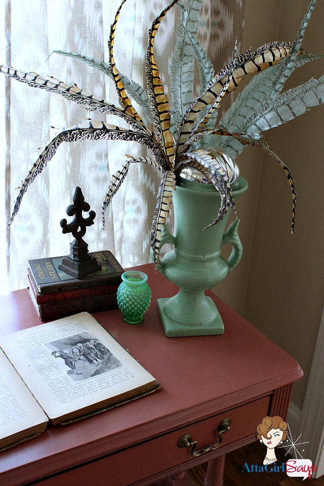 Living Room Scandanavian Pink Duncan Phyfe Desk with Pheasant Feather arrangement