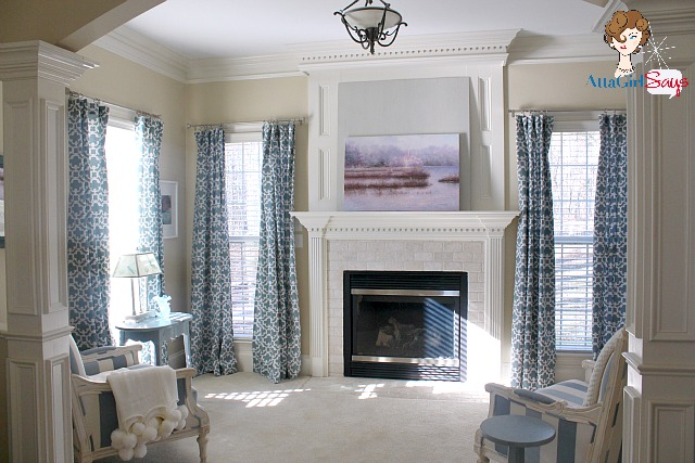 Master Bedroom Sitting Room With Farrah Fretwork Curtains From Target