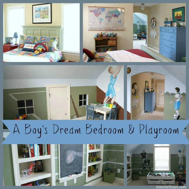 A boy's dream bedroom and playroom at AttaGirlSays.com