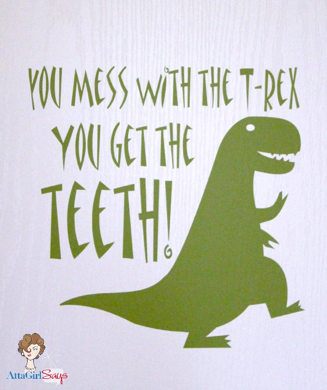 Tyrannosaurus rex vinyl wall decal by AttaGirlSays