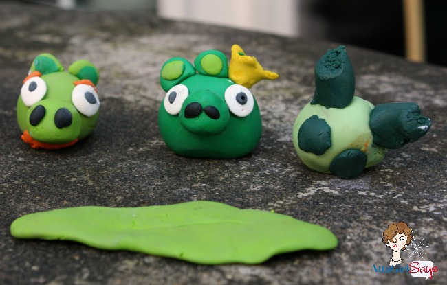 angry birds pigs made out of clay by AttaGirlSays.com