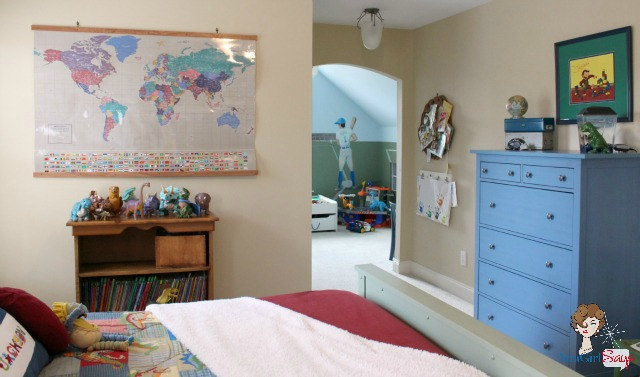 dinosaur bedroom and sports playroom for a boy