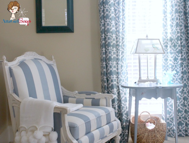 blue and white striped French painted chair in master bedroom