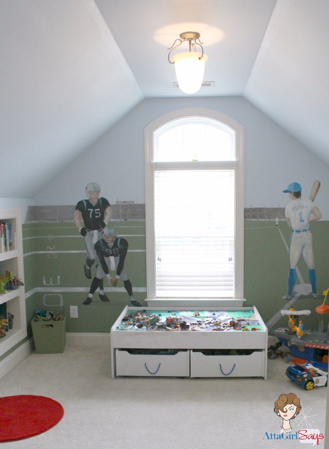 boy's playroom with sports mural on wall Jackson bedroom