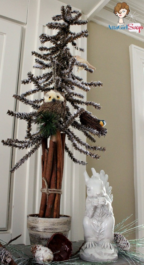 brown flocked bristle feather woodlands Christmas tree by AttaGirlSays.com