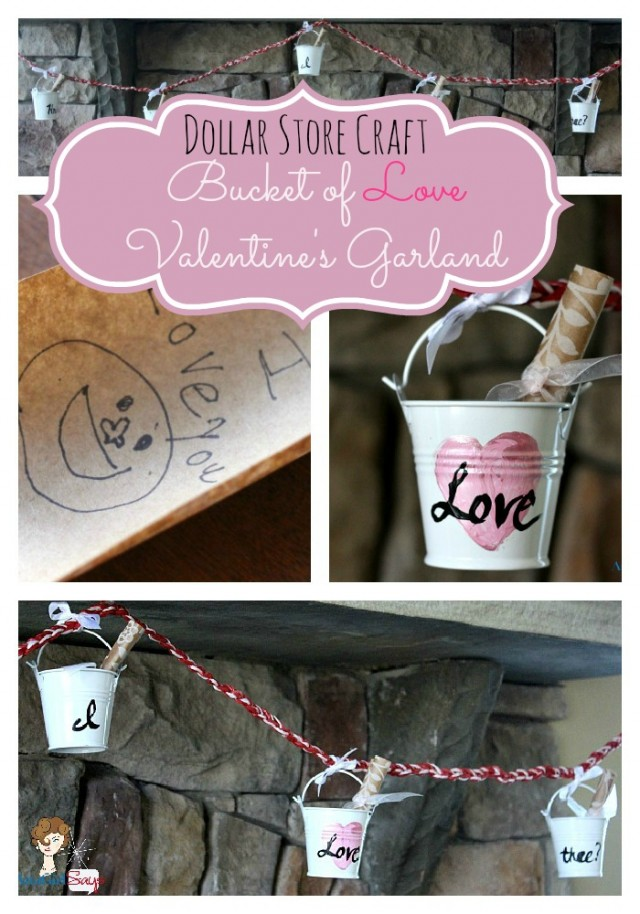 What a great idea for Valentine's Day using items from the dollar store! Valentine's Day Garland
