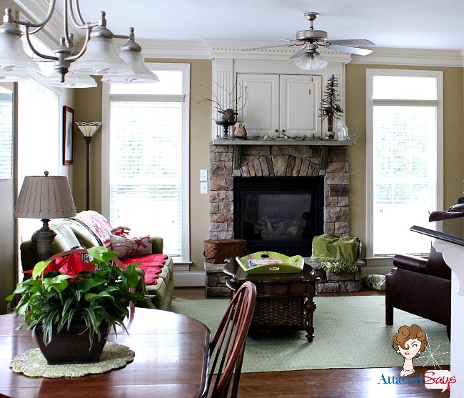 cozy winter keeping room with stone fireplace by AttaGirlSays.com