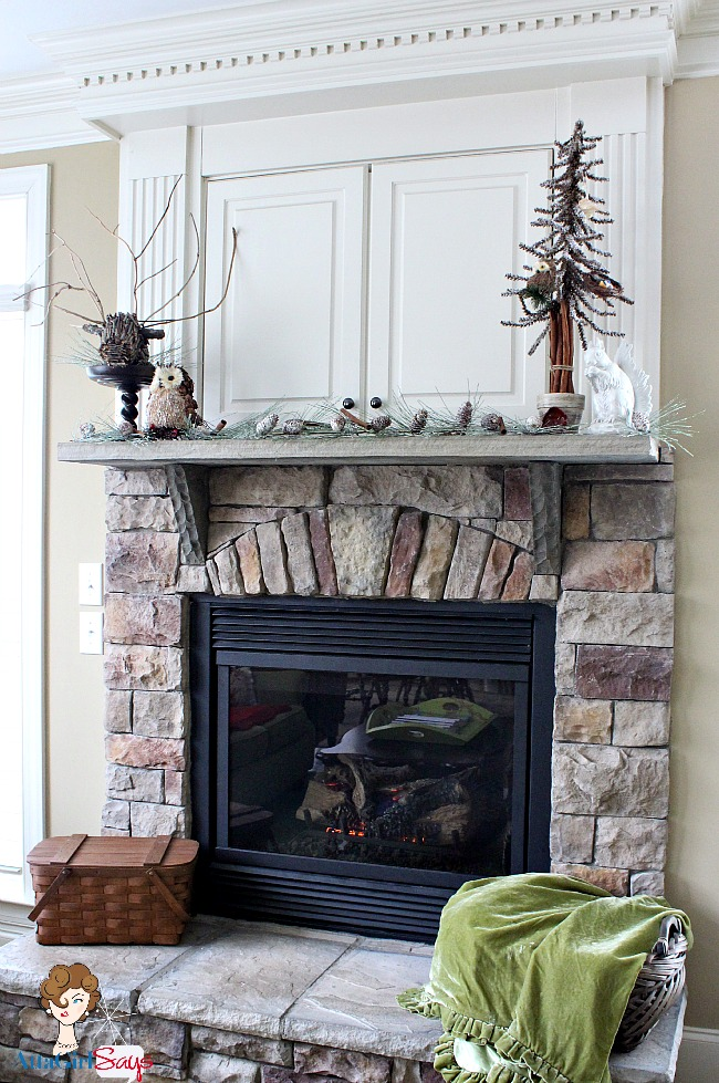 cozy winter mantel and hearth fireplace decor by AttaGirlSays.com