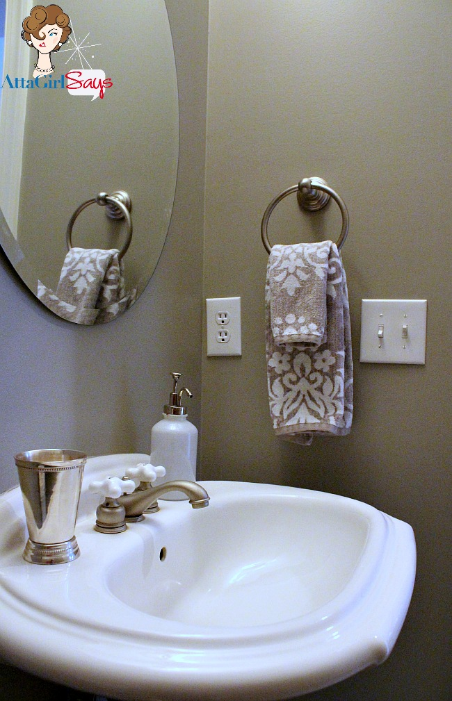 elegant silver and gray powder room with silver damask towels from Tahari at TJ Maxx