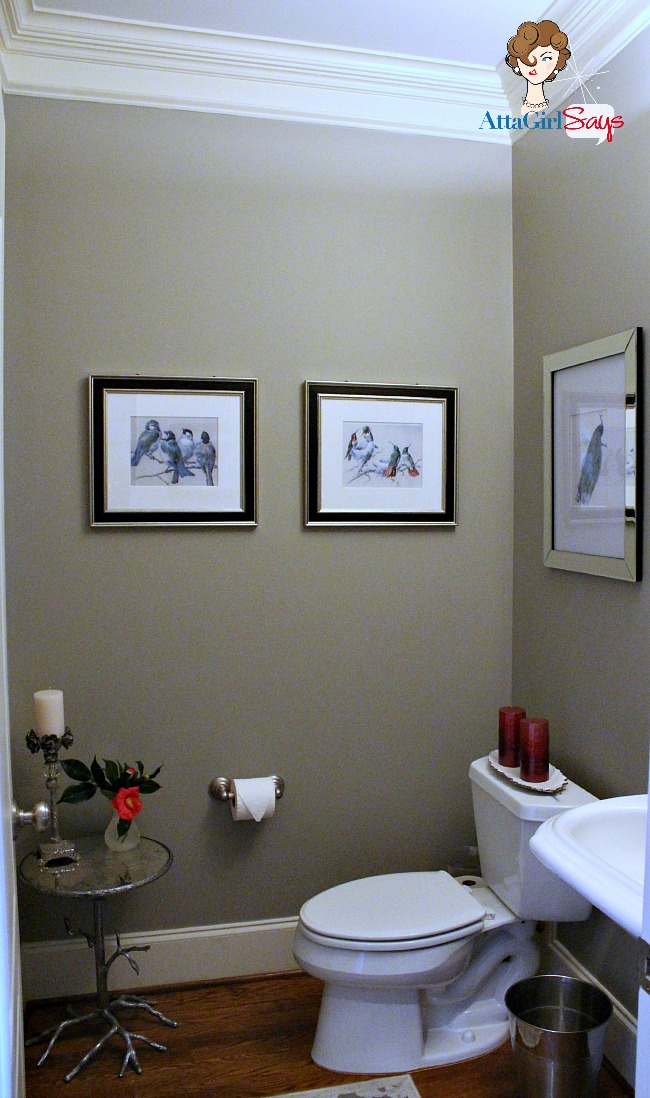 Atta Girl Says: glamorous powder room in silver and gray by AttaGirlSays.com