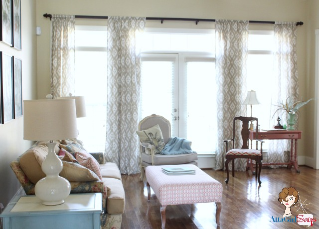 living room pattern painted furniture curtains french doors