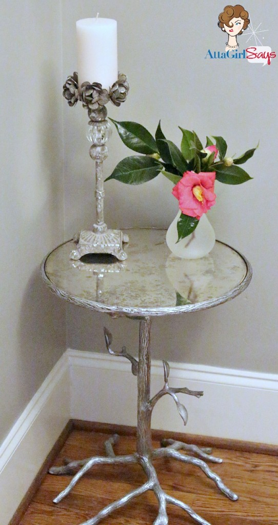silver and mercury glass bird branch table by AttaGirlSays.com