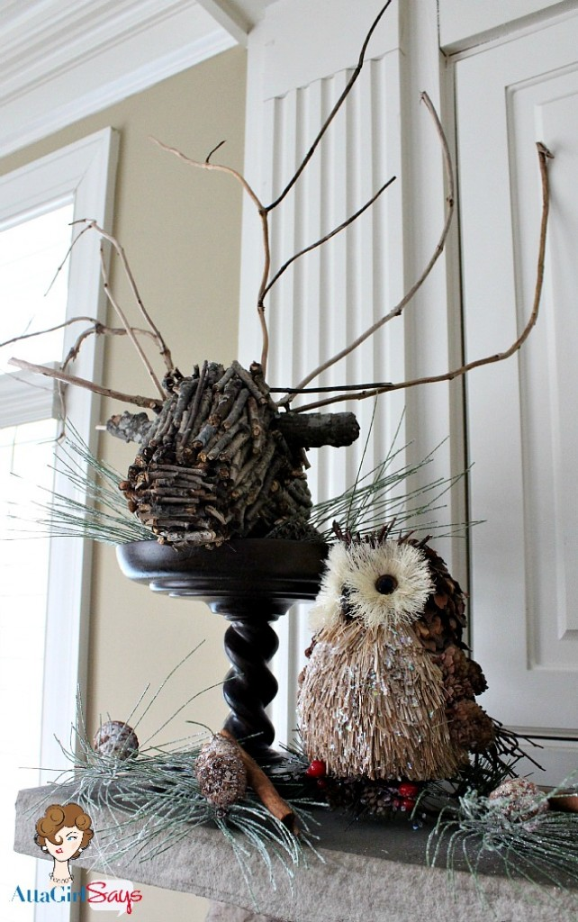 twig deer head mount and owl in woodland winter mantel by AttaGirlSays.com