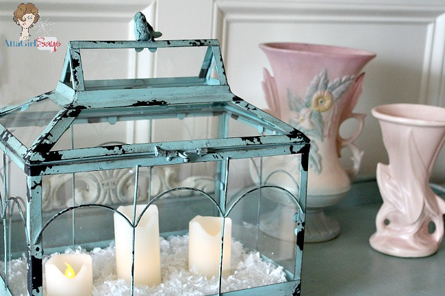 verdigris terrarium with bird and candles by AttaGirlSays.com