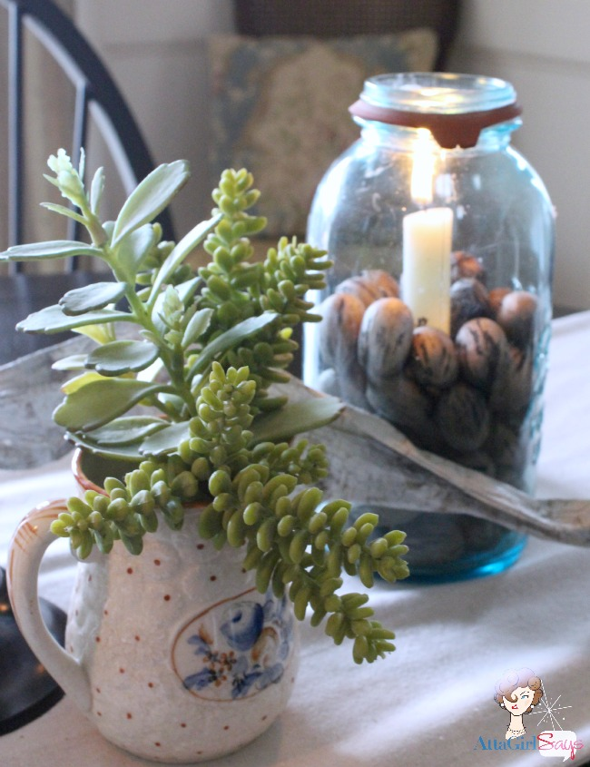 winter natural woodland tablescape with mason jars by AttaGirlSays.com