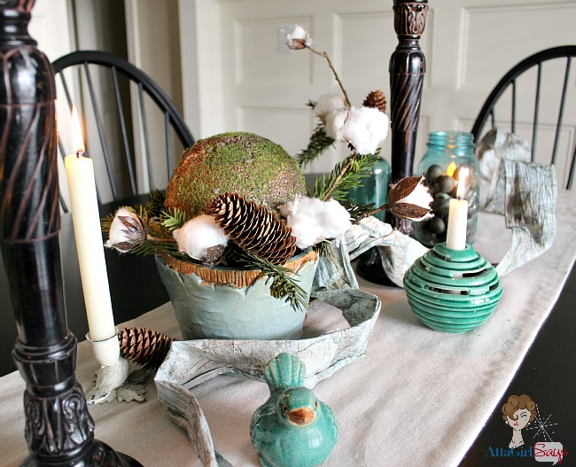 winter woodland dining room tablescape with cotton bolls and candles by AttaGirlSays.com