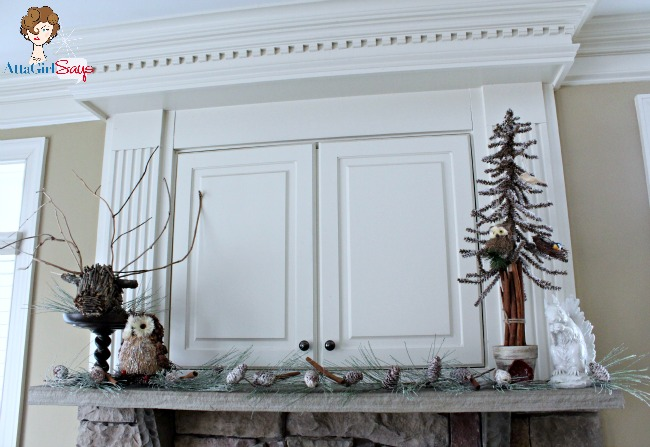 natural winter woodlands mantel by AttaGirlSays.com