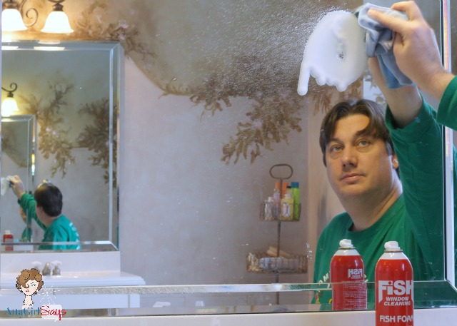 Cleaning mirrors with Fish Foam