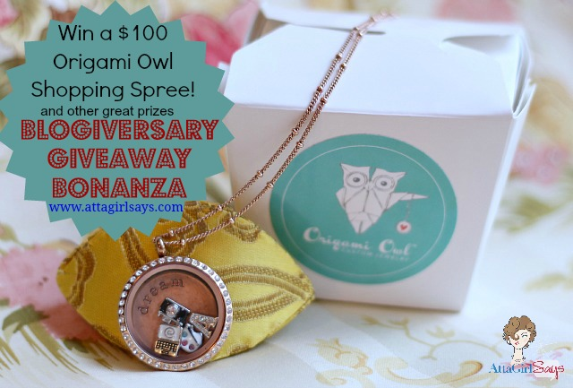 AttaGirlSays.com: Win $100 Origami Owl Gift Certificate Blogiversary Giveaway Bonanza