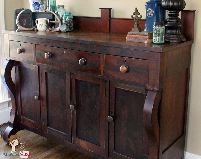 estate sale find antique empire sideboard atta girl says. Black Bedroom Furniture Sets. Home Design Ideas