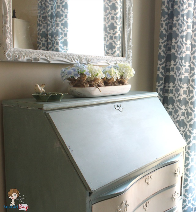 Atta Girl Says Duck Egg Blue and Cream Handpainted Secretary