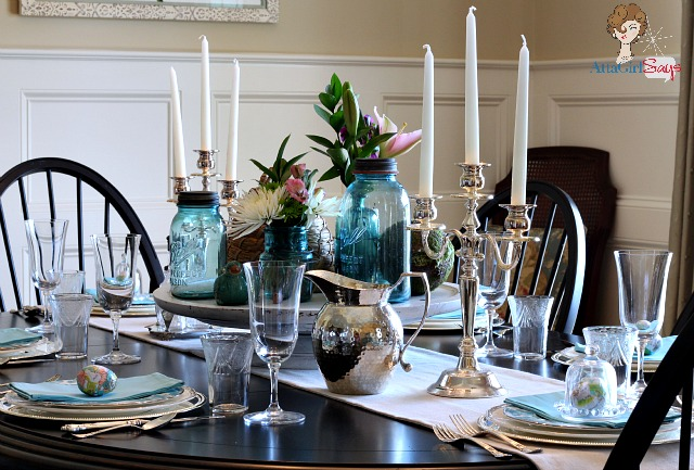 Atta Girl Says Easter Dining Room Table with China and Mason Jars
