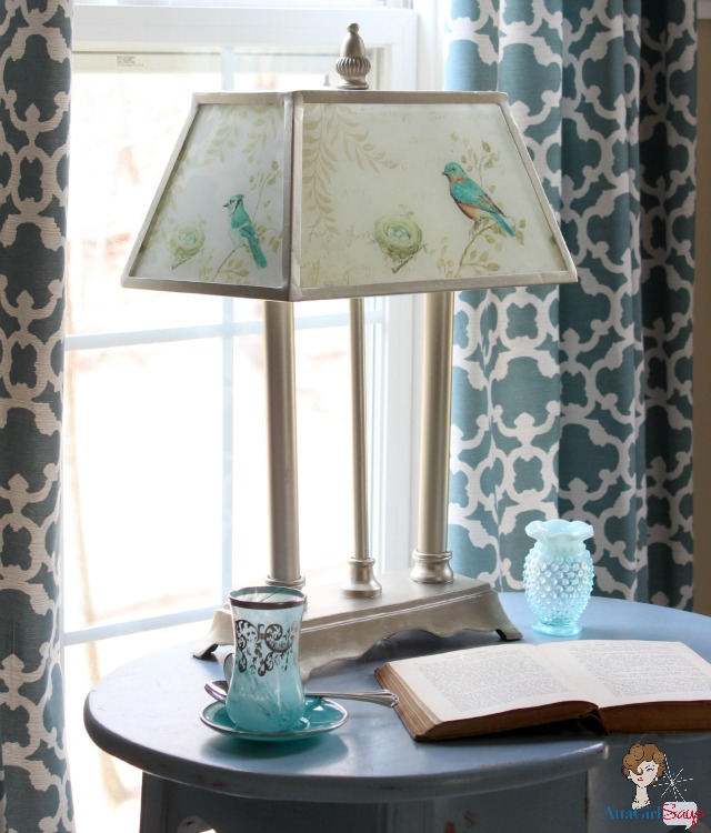 Savvy southern style march 2013 atta girl says glass and brushed nickel bird lamp with glass shade mozeypictures Choice Image