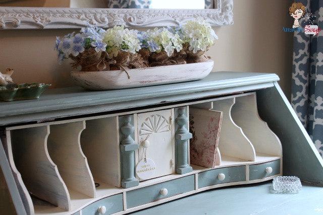 Atta Girl Says Pretty Tiffany Blue and White Antique Secretary Desk
