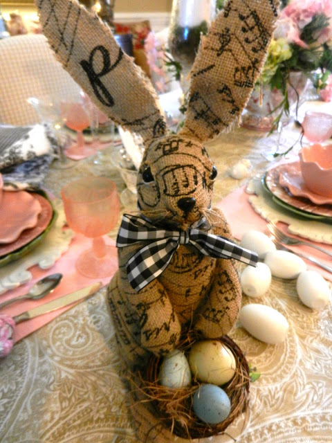 Burlap French Script Easter Bunny from The Everyday Home