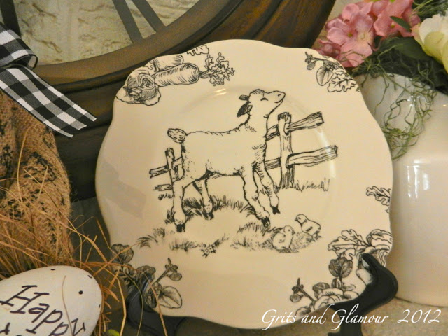 Black and White Toile Easter Plates