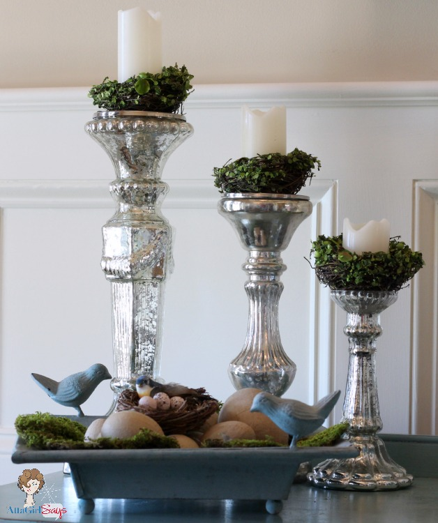 Mercury Glass Candle Sticks with bird's nests