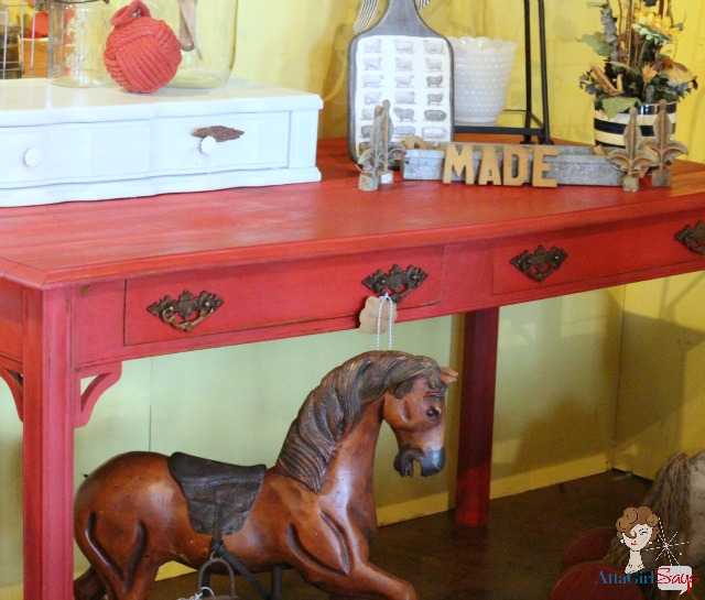 Vintage Rocking Horse & Red Writing Desk