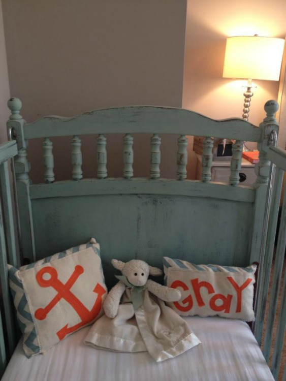 Creme de Menthe Maison Blanche crib with orange accents