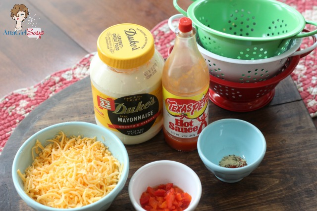 Homemade Pimento Cheese ingredients: An easy pimento cheese recipe without cream cheese -- just three simple ingredients, plus a blend of spices.