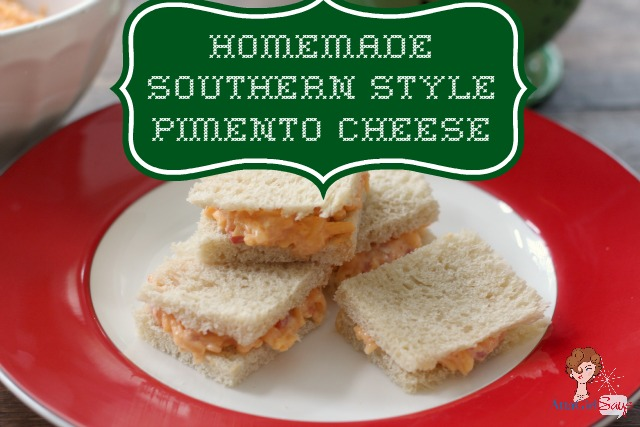 mini homemade pimento cheese sandwiches on a red rimmed plate