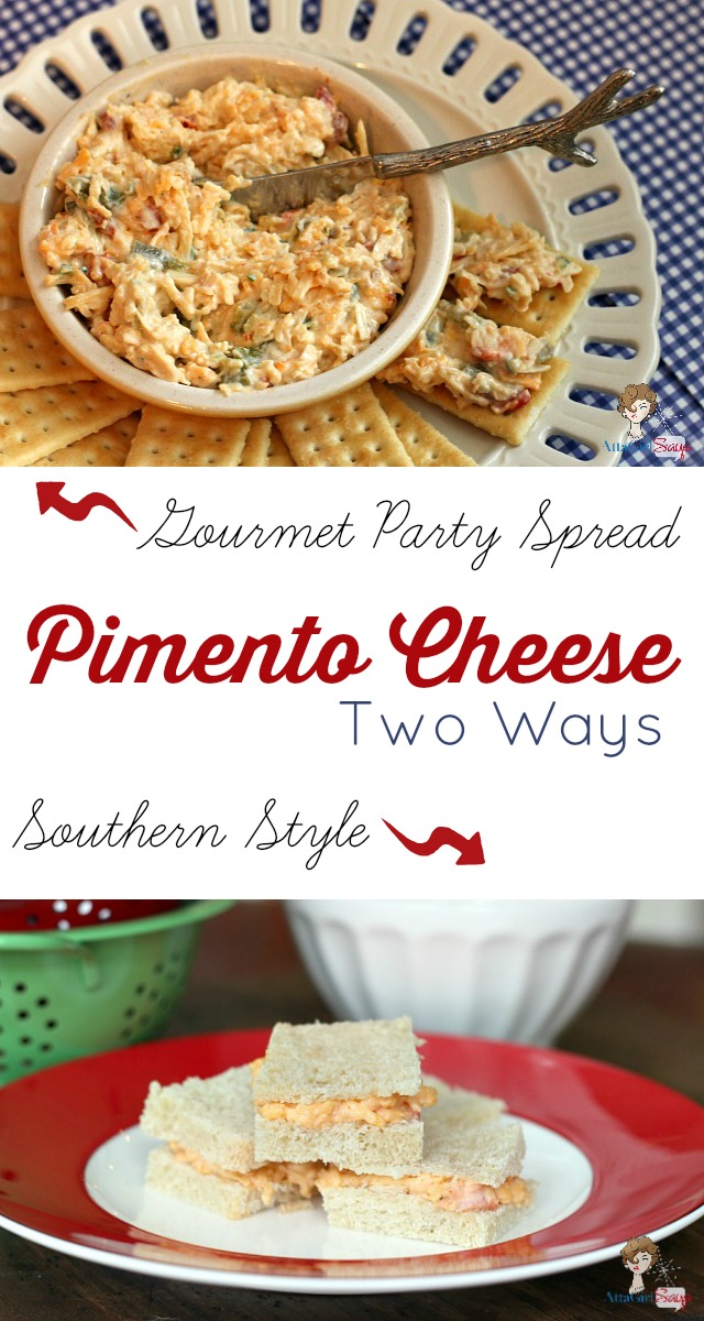 Who says all pimento cheese is the same. These recipes are both delicious, but one is a traditional southern style sandwich spread made with cheese, pimientos and mayo. The other is a gourmet spicy-sweet spread made with three cheeses, homemade roasted peppers, honey and jalapenos. Give both a try and try to pick a favorite.
