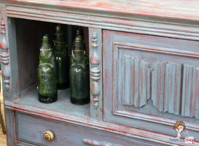 Vintage Soda Bottles in Kitchen Scale Buffet