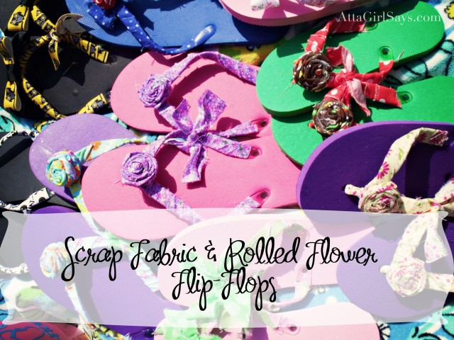 scrap fabric rolled flower flip flops