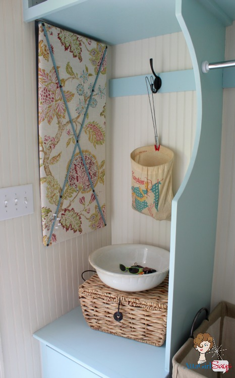 Atta Girl Says: Fabric Cover Bulletin Board & How to Cover an Electrical Panel in Style