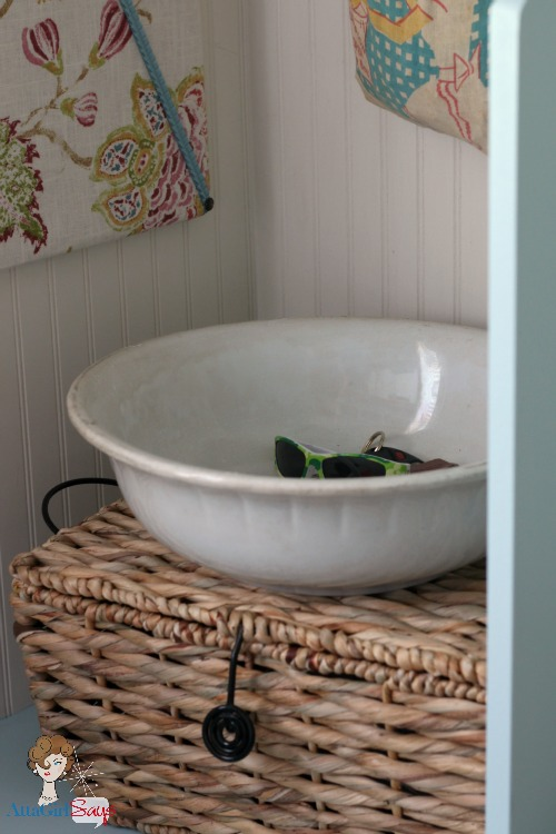 Atta Girl Says: Vintage Ironstone Bowl Laundry Room Storage Solution
