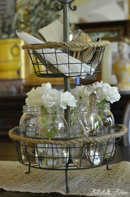 Rose-Mason-Jar-and-Silver-Centerpiece-2-TidbitsTwine