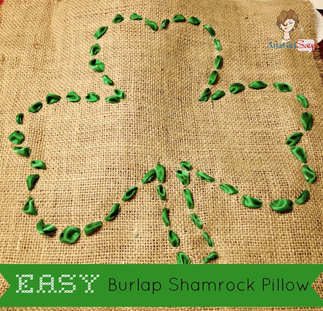 Atta Girl Says: Easy Burlap Shamrock Pillow