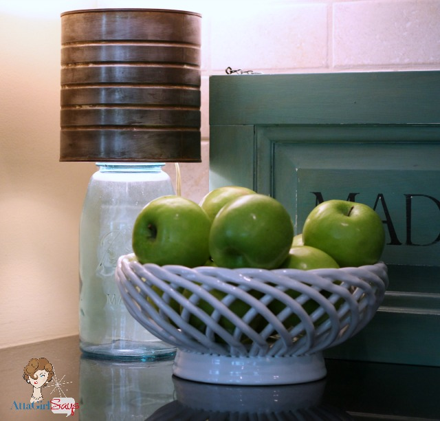 Mason Jar Lamp with Faux Zinc Shade