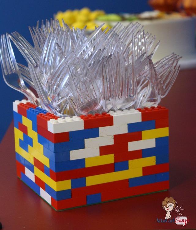 Lego Birthday Party Utensil Holder