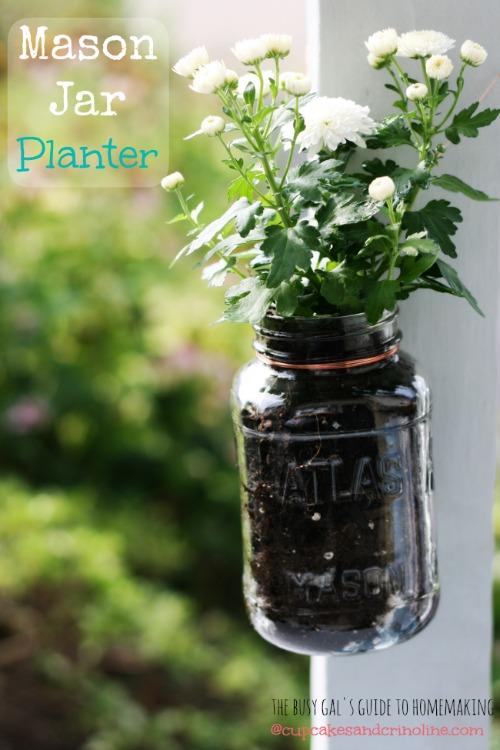 Mason Jar Planter from Cupcakes and Crinoline